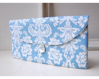 Shabby Chic clutch, Bridesmaid Gift, Bridesmaid Clutch, blue white, Wedding Favor, Shabby Chic gift, for her, cosmetic bag, damask, bridal