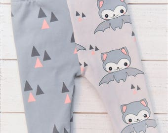 Bat Leggings, Bats Outfit, Halloween Outfit, Halloween Leggings, Girl Leggings, Baby Leggings, Baby Outfit, Baby Gift, Gray Leggings, Infant