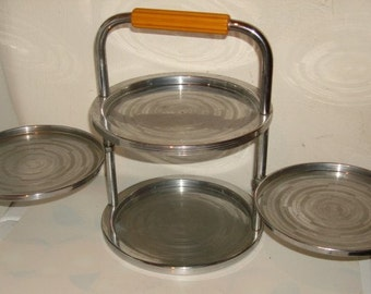 Art Deco CHASE Chrome & Bakelite hors d'oeuvres Snack Folding Trays / Server