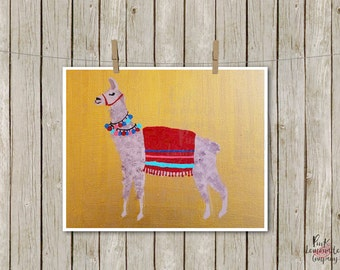Loretta the Llama Art Print home decor apartment room kids nursery kitchen gold mexico red aqua pom pom alpaca instant download printable