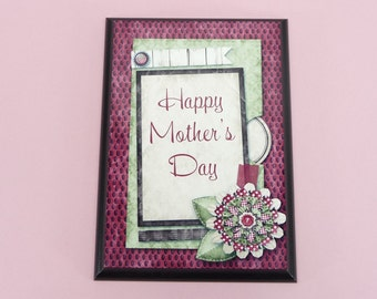 HAPPY MOTHERS DAY Mom | 5x7 inch Wood Plaque | Cute Gift For Mother Mommy Mum | Special Gift For Mom To Cherish | Flowers Frame