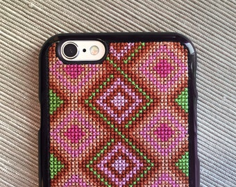 Free Shipping! Unique Cross Stitch Phone Case for iPhone 6 & iPhone 6S in Mahogany Pink