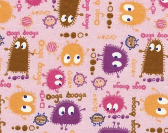 CANDYLAND Ooga Booga on Pink, Cotton Interlock Knit Fabric, FQ 18X30 inches