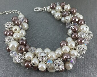 Brown and Ivory Bracelet Taupe Jewelry Pearl Cluster Bracelet Bridesmaids Gift Vintage Style Wedding Jewelry Gift for Her Brown Bracelet