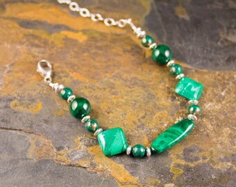 Handcrafted Malachite and Sterling Silver Bracelet (B096)