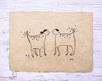 love dogs ink drawing, ORIGINAL ink illustration, abstract dog ink art, dog illustration, outsider art, quirky dog art, surreal art