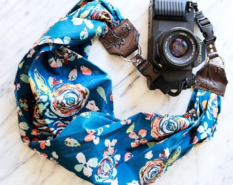 The 'Rebecca' Floral Scarf Camera Strap with Quick Release Buckles -- 1.5- 2 inches wide