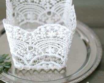 White Square Crochet Lace Basket, Container, Vase - DIY Wedding/Centerpiece/Flower girl/Gift package/Photo prop/Container
