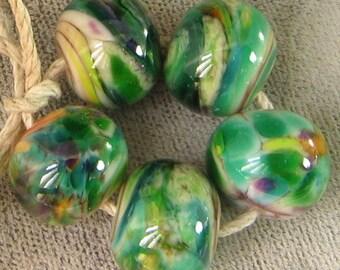 Prairie Grass Lampwork Spacer Handmade frit Glass Beads  emerald green ivory pink 2-6 bead sets