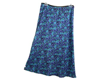Wanted Clothing vintage 90s floral midi skirt blue & purple flower print made in usa | size large