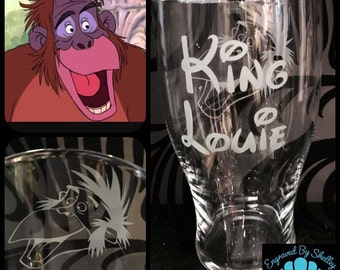 Personalised Jungle Book, King Louie Pint With Free Name Engraved! Totally Unique Gift For Any Disney Fan!