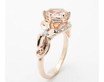 Round Cut Diamond Engagement Ring Unique Flower Ring 14K Rose Gold Engagement Ring Nature Rings