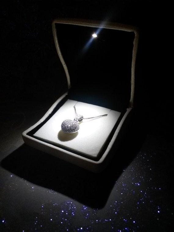 Lighted necklace box white LED jewelry box tuxedo bridal
