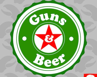 Guns & Beer Sticker Self Adhesive Vinyl and 2a gun rights - C1268