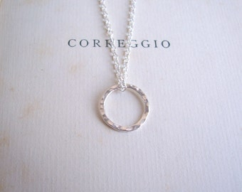 Simple Sterling Silver Circle on fine chain - minimalist jewellery - hammered textured ring charm - nickel free