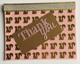 Pink Gold Glitter Fox Handmade Thank You Appreciation Grateful Thanks Greeting Card  For Her For Friend For Mom For Family For Coworker