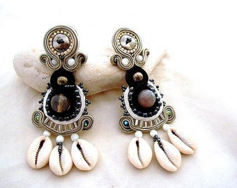 African cowrie with gemstones statement  earrings , Infinity tribal chandelier ethnic jewelry , Summer must have accessories