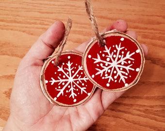 Set of 2 mini snowflake ornaments, mini wood slice ornament, small snowflake ornament