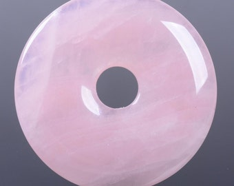 g3568.1  40mm Rose quartz donut focal pendant bead