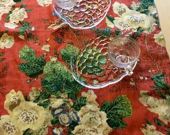 Table Runner, Linen Table Runner, European Linen, Vintage Textile, Floral, Red-Orange, Table Linens, Kitchen Linens