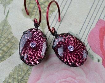 Dark Amethyst Glass Earrings, Vintage Bead Sunburst Earrings, Purple Drop Earrings, Mid Century Jewellery, Retro Gift for Women