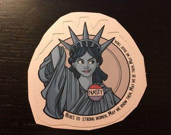 Individual Die Cut Nasty Lady Liberty sticker (Item 01-374)