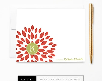 Flat or Folded Note Cards // Set of 10 // Red Blooming Blossom with Green Monogram Initial and Name // Personalized Stationery // S100-8