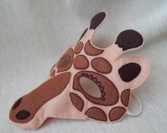 Giraffe - felt mask. Giraffe mask for children. Felt mask. Giraffe mask. Halloween mask. Party mask.