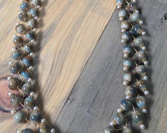 Rustic Blue and Cream Ceramic Rope Vine Necklace