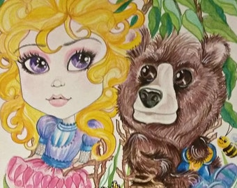 Fairytale Fantasy Goldilocks and Baby Bear Art Print by Leslie Mehl