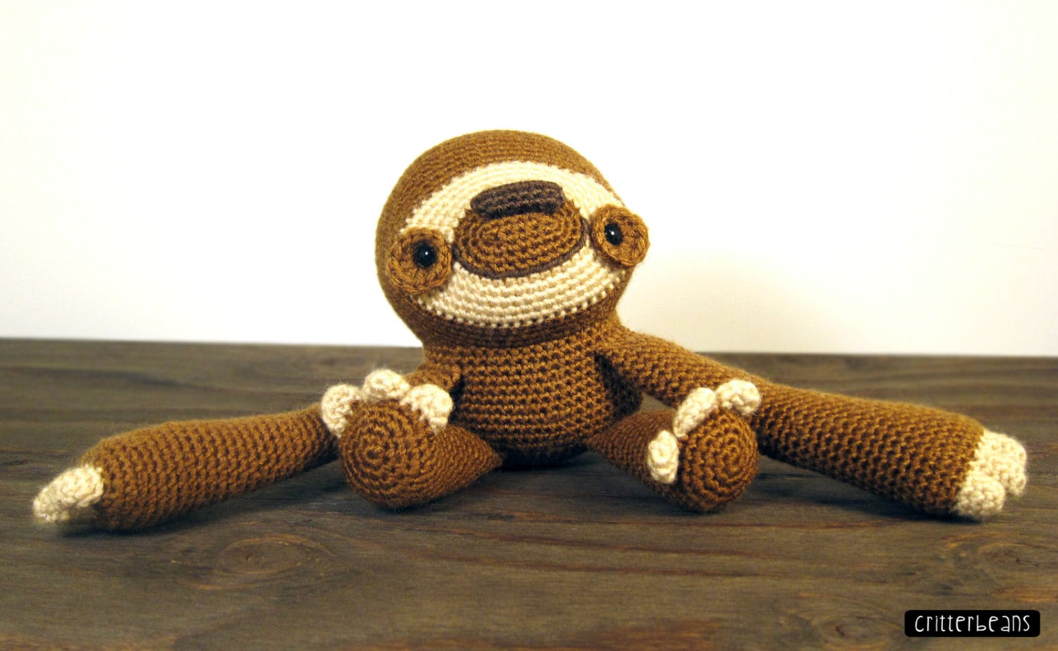 Free Amigurumi Sloth Pattern : Doobie the sloth pdf crochet amigurumi pattern from critterbeans