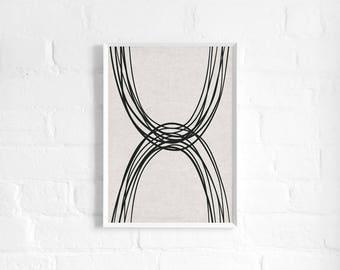 Natural Arches Abstract A3 Art Print, Monochrome Strokes, Linen Texture, Organic, Minimalist Art Poster, Modern Abstract Art, Wall Decor