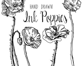 Ink Drawing Poppy Flower Clipart Flowers Clip Art Digital Clipart Flower Vintage Style Floral Clipart Scrapbooking