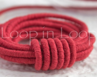 Red Coral cotton Cord Wrapped Thread rope 3.5mm thick bracelet necklace Tubing Soft Fiber Jewelry cord polyester core (by the foot)