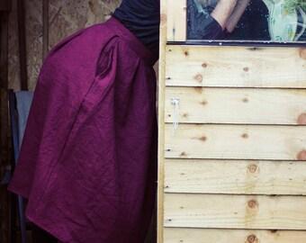 100% Linen Wine Skirt, hand made in London, sustainable, artisan, fashion
