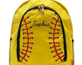 Monogrammed Backpack Personalized Softball New Backpack Personalized Backpack Kids Backpack Girls Backpack Boys Backpack