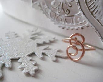 Rose Gold Ring, Handmade Swirl, 14l Rose Gold Fill, Double Swirl, Minimalist, One of a Kind, Handformed, candies64
