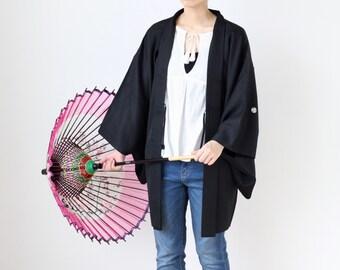 cloud pattern haori, black kimono, One of a kind, Japanese vintage, Authentic kimono, Japanese kimono /3441