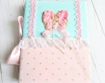 PINK Princess Album, Butterfly Princess Album, Personalized Album, Baby Girl Album, Wedding Album, Fabric Album, Shabby Chic, Handmade