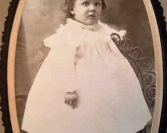 Little Girl in a Big Dress Vintage Cabinet Photo