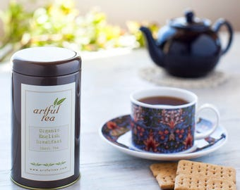 English Breakfast Organic Black Tea • 4 oz. Tin • Blend of Assam, Ceylon and Tanzanian Loose Leaf Teas