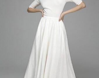 white skirt, linen skirt, maxi skirt, long linen skirt, swing skirt, skirt with pockets, long skirt, summer skirt, custom skirt   (1392)