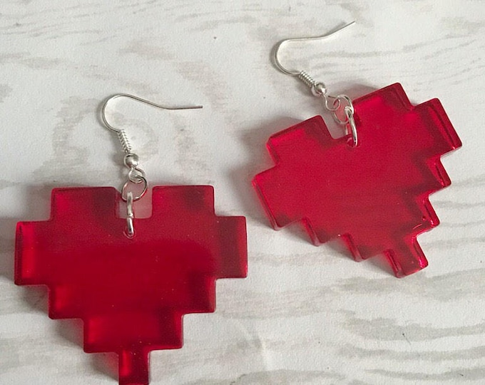 Featured listing image: Pixel Heart Earrings Gamer Earrings Gamer Jewelry Nerd Earrings Life Heart Translucent Red