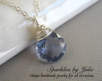 Evening Light Necklace - Gorgeously Faceted, Wire Wrapped Dusky Periwinkle Quartz, Light Purple-Blue, Sterling Silver Components,