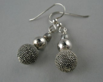 Dots, Plain and Striped Sterling Silver Earrings