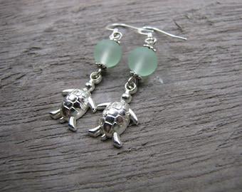 Turtle earrings sea glass earrings beach glass silver sea creature turtle charm jewelry