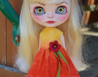 Yellow/Orange Hand Dyed Blythe Doll Dress - Will fit Pullip Doll- Handmade OOAK