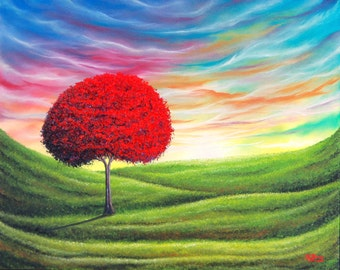 Colorful Art Print, Blossoming Red Tree Art Print of Landscape Painting, Large Wall Art Living Room Decor, Modern Impressionist Tree Artwork
