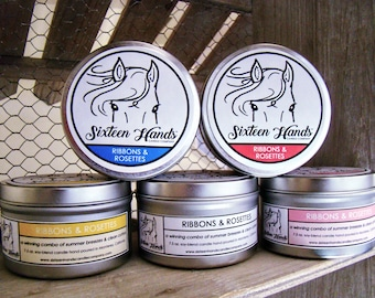 RIBBONS & ROSETTES - Horse Show Prizes - Gifts For Horse Lovers - Equestrian Gifts - Horse Candles - Equestrian Decor