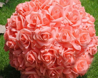 Coral wedding etsy 9 coral kissing ball rose pomanders for wedding centerpieces bridal shower coral wedding decorations njhq junglespirit Images